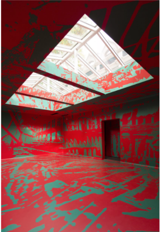 Artistas cuarto rojo con buhardilla